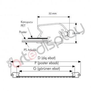 A4 Alüminyum Çerçeve Rondo (21x30cm) 32mm