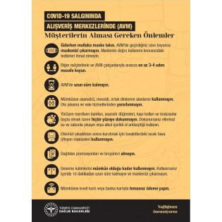 AVM'lerde Müşterilerin Alması Gereken Önlemler - Uyarı Afişi