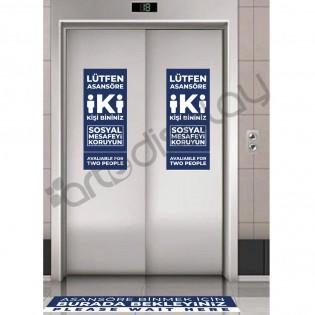 Asansör Sosyal Mesafe Uyarı Afişi - İki Kişi