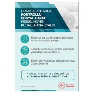 Ortak Alanlarda Kontrollü Sosyal Hayat Kişisel Hijyen Kuralları Afişi