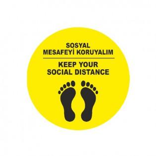 Sosyal Mesafe Koruma Yer Etiketi Türkçe / İngilizce