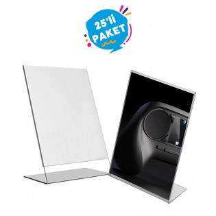 L Tipi Pleksi Föylük Etiketlik Fiyatlık Dikey A6 (10x15cm) - 25li Paket