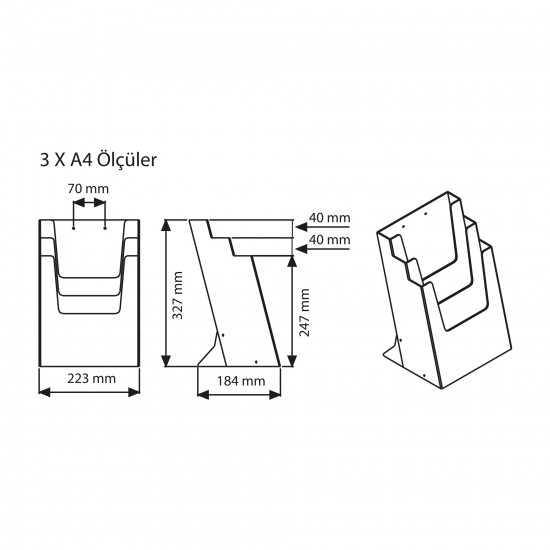 Masaüstü Broşürlük 3 Katlı A4
