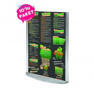 Oval Tabanlı Pleksi Dikey Föylük Etiketlik  A4 (21X30cm) - 10lu Paket