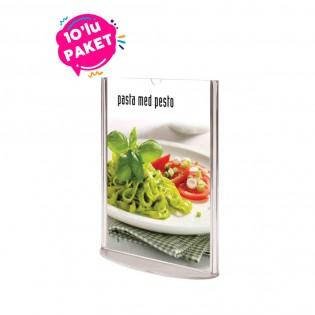 Oval Tabanlı Pleksi Dikey Föylük Etiketlik  A6 (10x15cm) - 10lu Paket