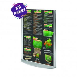 Oval Tabanlı Pleksi Dikey Föylük Etiketlik  A4 (21X30cm) - 5li Paket