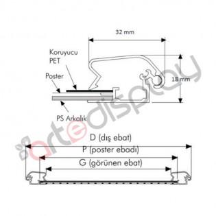 A2 Alüminyum Çerçeve Gönye (42x60cm) 32mm