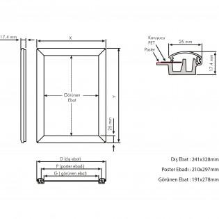 A3 Alüminyum Çerçeve Rondo (30x42cm) - 10lu Paket