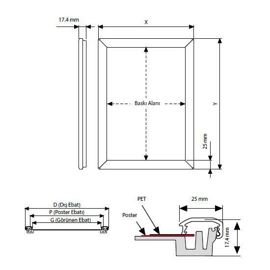 A4 Alüminyum Çerçeve Gönye (21x30cm)