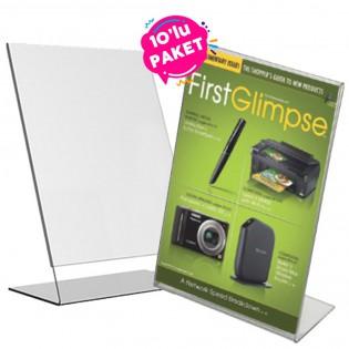 L Tipi Pleksi Föylük Etiketlik Fiyatlık Dikey A4 (21x30cm) - 10lu Paket