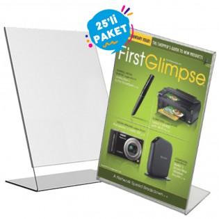 L Tipi Pleksi Föylük Etiketlik Fiyatlık Dikey A4 (21x30cm) - 25li Paket