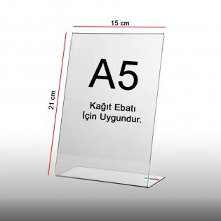 L Tipi Pleksi Föylük Etiketlik Fiyatlık Dikey A5 (15x21cm) - 25li Paket