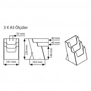 Masaüstü Broşürlük 4 Katlı 1/3 A4 (10,5x21cm)