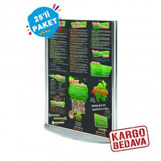 Oval Tabanlı Pleksi Dikey Föylük Etiketlik  A4 (21X30cm) - 25li Paket