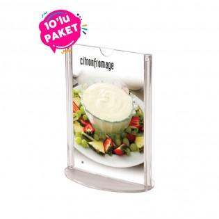 Oval Tabanlı Pleksi Dikey Föylük Etiketlik  A5 (15x21cm) - 10lu Paket