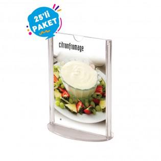 Oval Tabanlı Pleksi Dikey Föylük Etiketlik  A5 (15x21cm) - 25li Paket